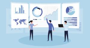 desenho de pessoas diante de gráfico e tabelas - uso de dados na estratégia de comunicação