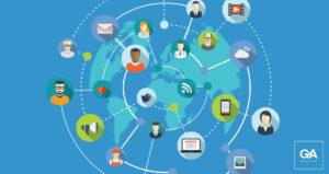 Mapa com figuras de mídias sociais interconectadas - gestão de crise exige monitoramento