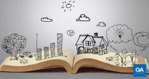 livro aberto com desenhos - storytelling em redes sociais