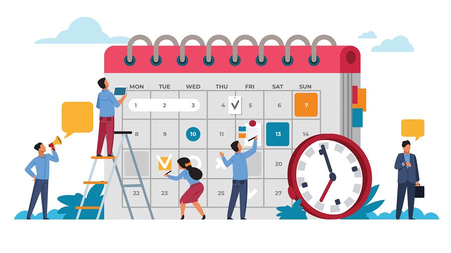 desenho de pessoas preenchendo um calendário gigante - rotina no home office