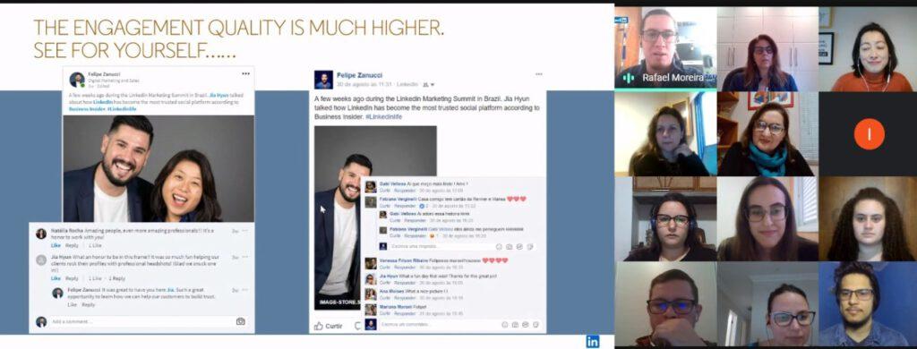 tela de encontro virtual e print screen de tela de redes sociais