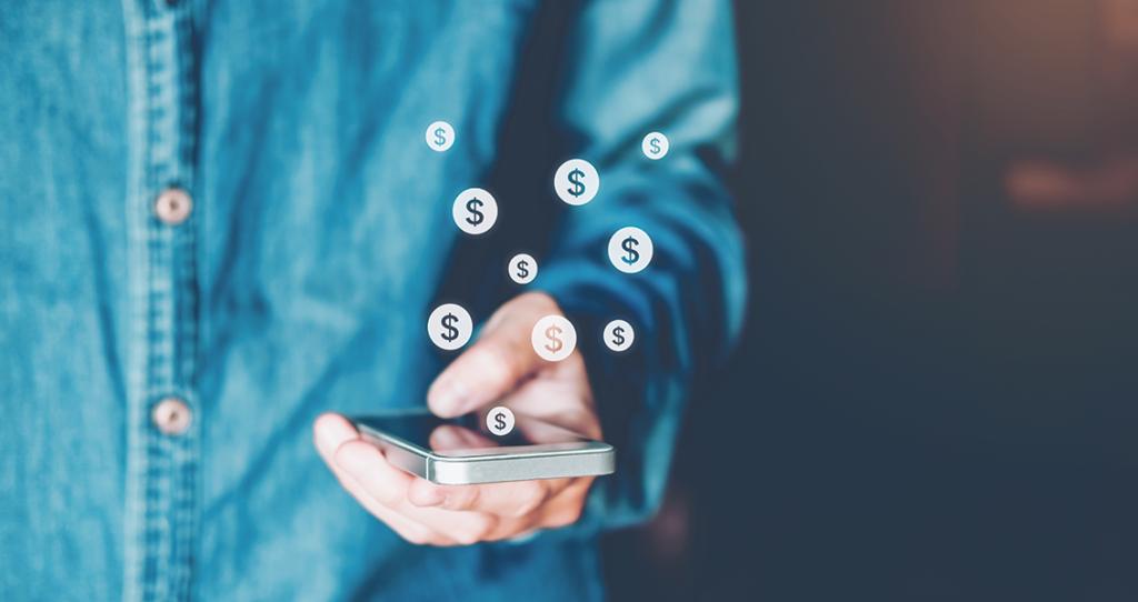 cifrões saindo do celular - CEO nas redes sociais